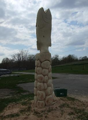Fish stump tree carving