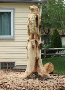 Eagle stump carving Canton Michigan