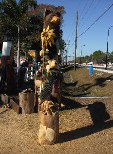 Totem pole chainsaw carving