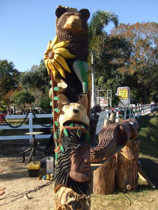 Totem pole chainsaw sculpture from michigan